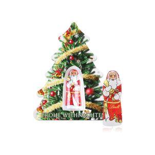 Schokokarte Business Weihnachtsbaum mit Lindt Weihnachtsmann, Klimaneutral, FSC®