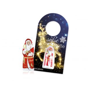 Schokokarte Business Türanhänger mit Lindt Weihnachtsmann